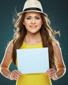 Woman holding blank sign board — Stock Photo