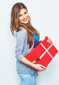 Woman holds big gift box — Stock Photo
