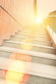 Long stairs up to modern building — Stock Photo