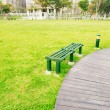 Wooden benches in an urban park — Stock Photo #59328915
