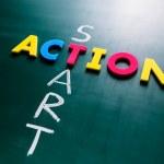 Start action concept on blackboard — Stock Photo #63958175
