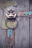 古い門の真鍮のライオン ヘッド ノッカー — ストック写真