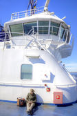 Girl abovedeck ferry — Stock Photo