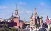 Temple of Vasiliy Beatific, Red Square and Kremlin — Foto de Stock