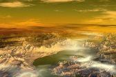 Unknown planet. Mountains — Stock Photo
