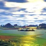 3D rendered fantasy alien planet. Rocks and sunset — Stock Photo #59228491