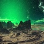 3D rendered fantasy alien planet. Rocks and sunset — Stock Photo #59228505