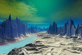 3D rendered fantasy alien planet. Rocks and lake  — Stock Photo