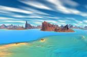 3D rendered fantasy alien planet. Rocks and lake  — Stockfoto