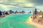 3D rendered fantasy alien planet. Rocks and lake  — Fotografia Stock
