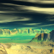 3D rendered fantasy alien planet. Rocks and sunset — Stock Photo #61884433