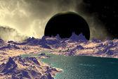 3D rendered fantasy alien planet. Rocks and  moon — Stok fotoğraf