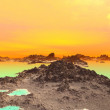 3D rendered fantasy alien planet. Rocks and lake  — Stock Photo #64323553