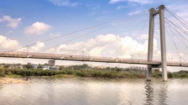 Bridge to the island Tatyshev, Krasnoyarsk — Stock Video