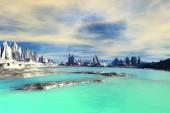 3d wytopione fantasy obcej planety. Skały i jeziora — Zdjęcie stockowe