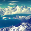 3D rendered fantasy alien planet. Rocks and sky — Stock Photo #68083129