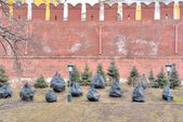 Fir-trees at the wall of Kremlin after a winter — Stockfoto