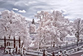 Moscow. Alexander Garden and Kremlin. Infrared photo — Stock Photo