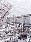 Moscow. Manezhnaya Square  and Alexander Garden. Infrared photo — 图库照片