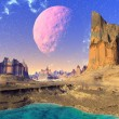 3D rendered fantasy alien planet. Rocks and  moon — Stock Photo #70091051