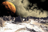 3D rendered fantasy alien planet. Rocks and  moon — Stock Photo