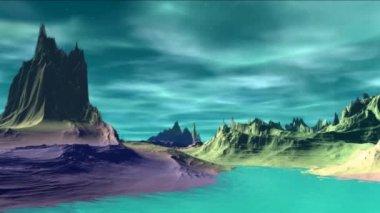 Fantasy alien planet. Rocks and sky — Stockvideo