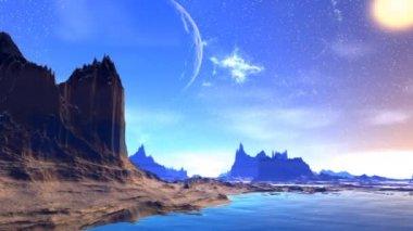 Fantasy alien planet. Rocks and  moon — Stock Video