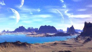 Fantasy alien planet. Rocks and  moon — Vidéo