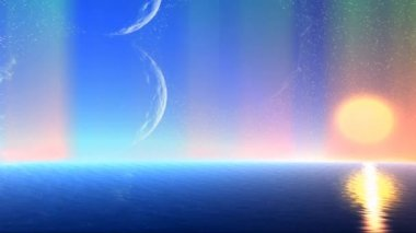 Fantasy alien planet. Sea, sky and northern lights — Stock Video