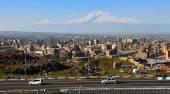 Legendary mount Ararat and Yerevan city. — Stock Photo
