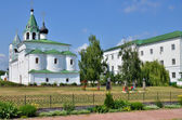 Cathedral with bell tower and cemetery in  Russia — Stock Photo