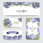 σύνολο floral κάρτες — Διανυσματικό Αρχείο