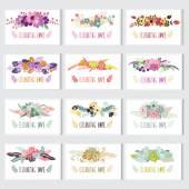 Floral kaarten set — Stockvector