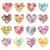 Floral hearts set — Stock Vector