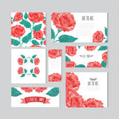 Oil painted floral cards set — Vector de stock