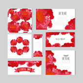 Oil painted floral cards set — Stock Vector