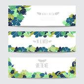 Conjunto floral cartões — Vetor de Stock