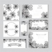 Jeu de cartes floral — Vecteur