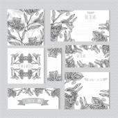 Blumen Karten set — Stockvektor