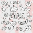 Valentines day hand drawn doodles — Stock Vector #62958847