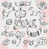 Valentines day hand drawn doodles — Stock Vector