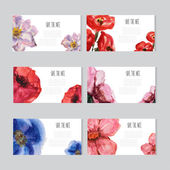 Watercolor floral cards set — Vector de stock