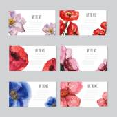 Watercolor floral cards set — ストックベクタ