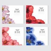 Watercolor floral cards set — ストックベクタ