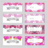 Conjunto de tarjetas florales — Vector de stock