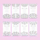 Set di carte floreali — Vettoriale Stock
