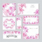 花カード セット — ストックベクタ