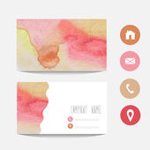 Watercolor business card — Stock Vector