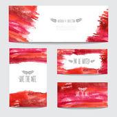 Watercolor cards set — Stock Vector
