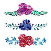 Watercolor floral bouquets — Stock Vector